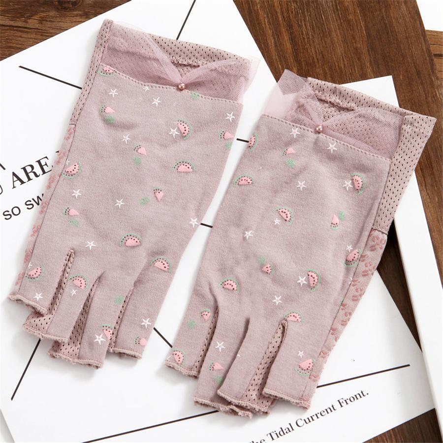 Femmes Finger moitié travail de la protection solaire UV Gants Coton Femme d'été pour étudiants Fingerless Conduite non-Slip 3 TBFS15 Y191112