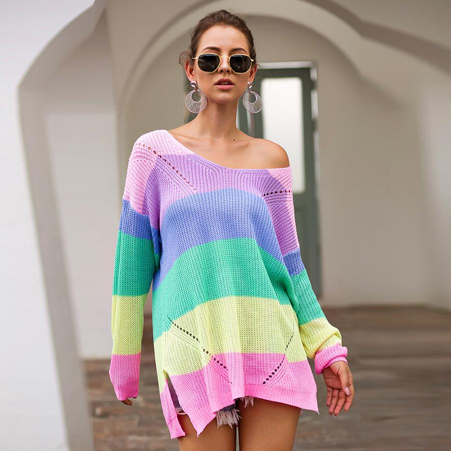 Womens Autumn Sweater Striped Rainbow Knit O-neck Long Sleeve Loose Koran Woman Sweaters Female Pullovers Tops VD30871