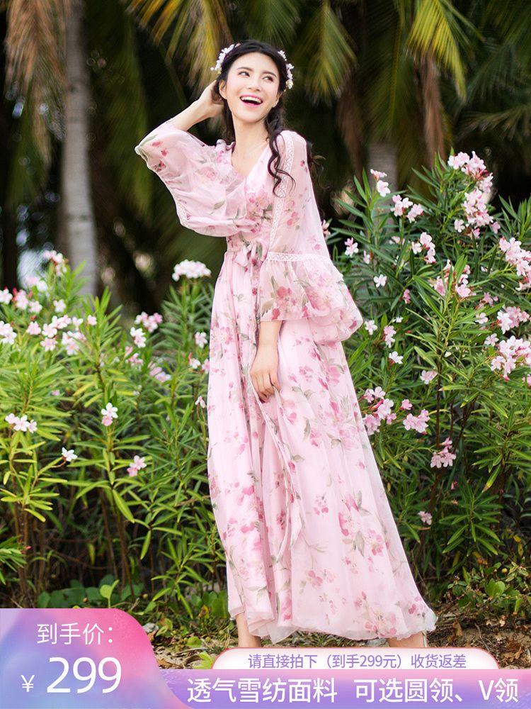 Fairy2019 Printemps costume-robe motif été usure de plomb V impression en vacances sera Pendule Un mot Longueur Jupe Sandy Beach en mousseline de soie Robe