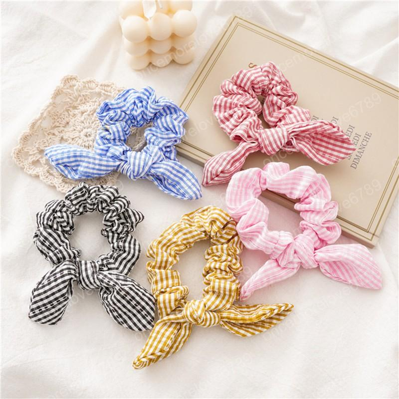 Bunny Ears Hair Scrunchies Elastic Hair Bands Striped Bowknot Scrunchie Sweet Ponytail Holder Girls Hair Accessories