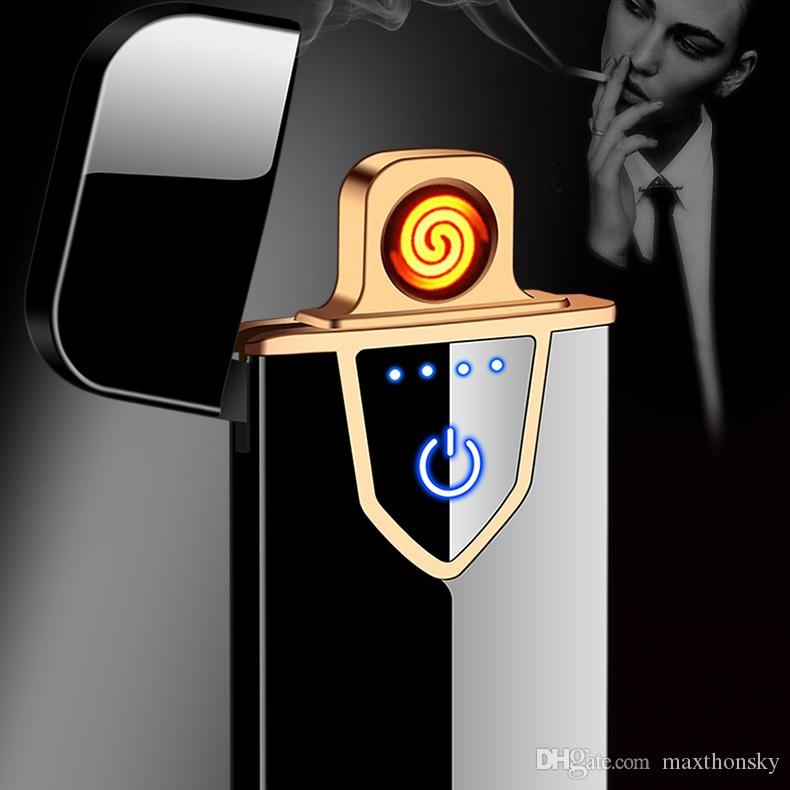 cool Cheap utility electric USB rechargeable cigarett lighter Tungsten wire heater windproof metal blue red black silver gold black h7168