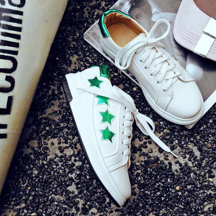 Frauen Casual Stern Wohnungen Plattform-Schuhe Drucken