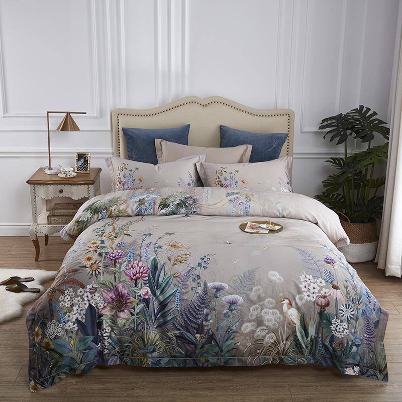 Cotton bed linen set flowers birds print bedding sets flat sheet duvet cover
