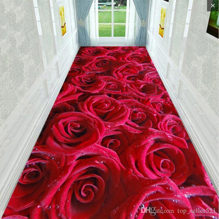 غرفة نوم المطبخ الإبداعية الأصلي الأحمر 3D المطبوعة ارتفع ممر رواق المدخل السجاد أزياء العلامة التجارية رسالة شعرية ريترو السجاد البساط القصر