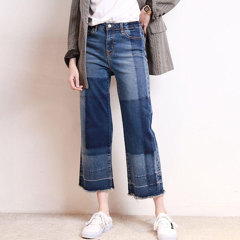 Pantaloni larghi larghi del denim della gamba diritta di formato pantaloni larghi casuali della rappezzatura europea Vestiti delle donne Pantaloni delle donne della molla Jeans QH211
