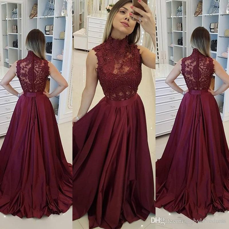 Burgundy Evening Dresess High Neck Sleeveless A Line Lace Appliqued Prom Dresses Beaded Covered Button Satin Celebrity Party Gowns