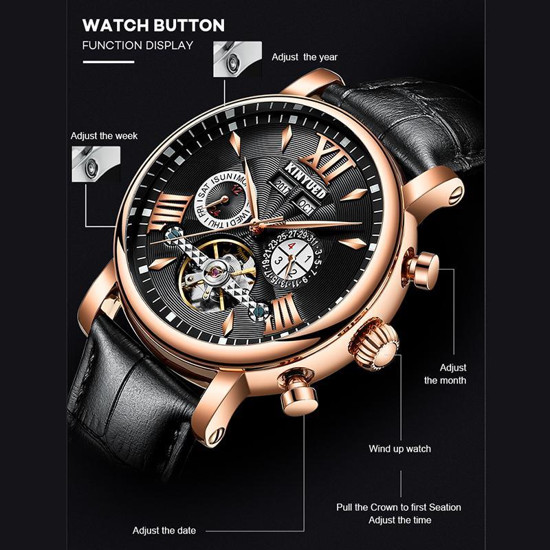 Y200414 Packaging KINYUED Otomatik Mekanik İzle Moda Deri Su geçirmez Erkek Saatler Perpetual Calendar Reloj Hombre Hediye Kutusu