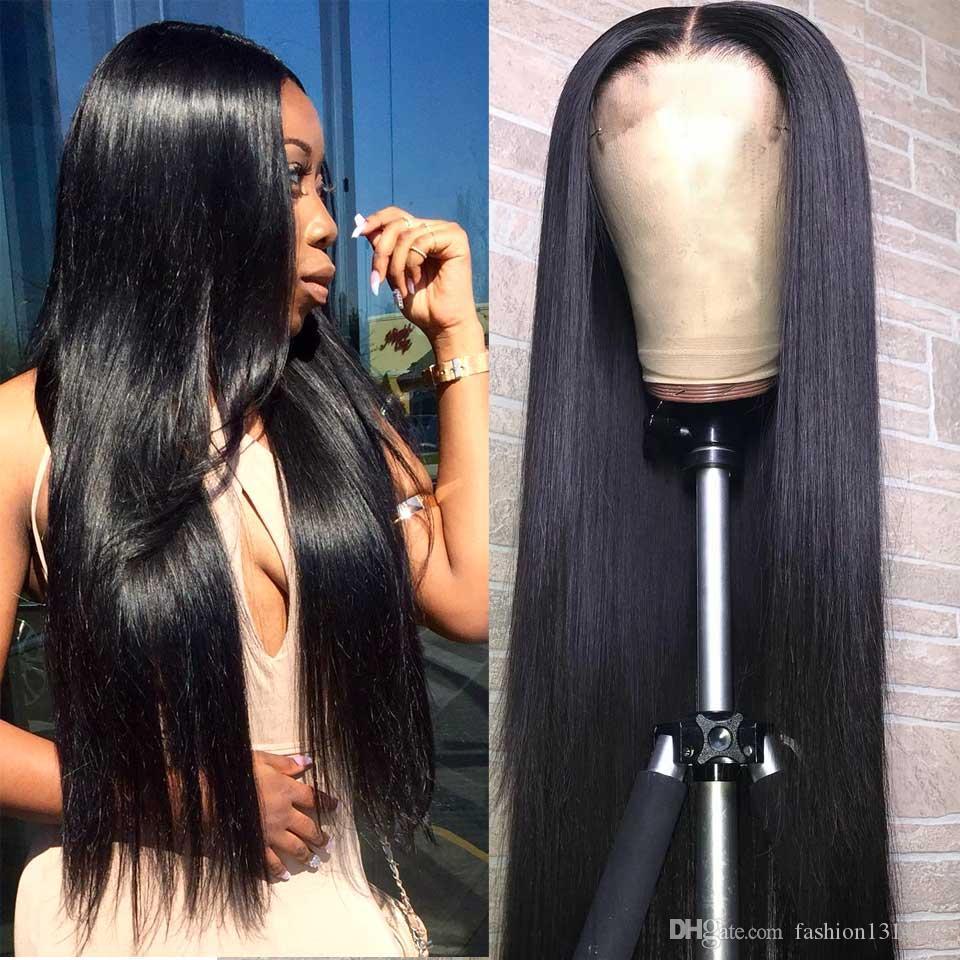 13x4 Lace Front perruques de cheveux humains pour les femmes avec bébé cheveux moyenne brésilienne 150% Densité Remy Hair