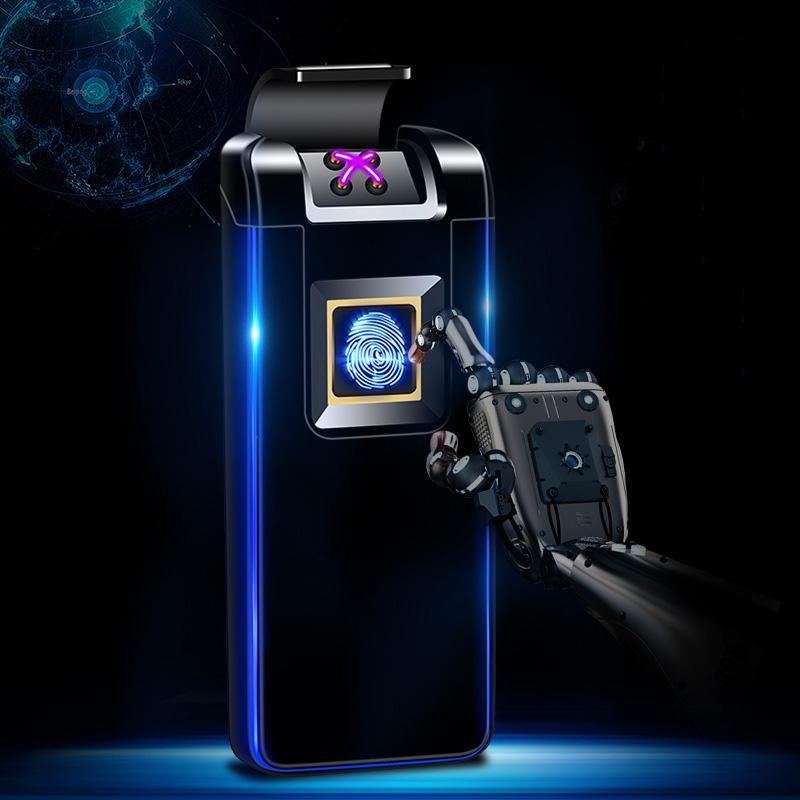 identification d'empreintes digitales à plasma à arc double lampe atmosphère briquet électronique de charge cigarette homme briquet présente intelligente A6001198