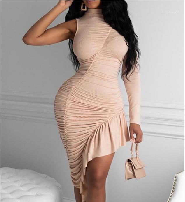 Solide Couleur Femme Vêtements 2020 Femmes Designer Robe d'été sans manches à volants bord Stacked irrégulière robes sexy
