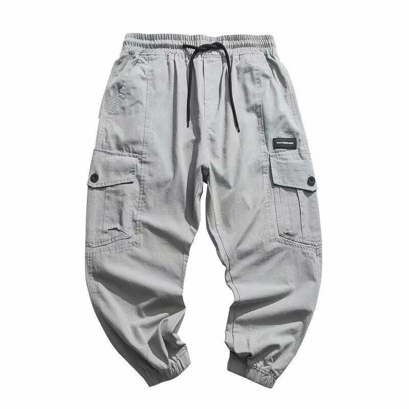 Erkek Vintage Streetwear Hip Hop Kargo Pantolon Erkekler çok cepli Gevşek Casual Harem Pantolon Koşucular Sweatpants