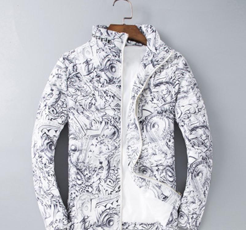 Giacca geometrica Mens di marca maniche lunghe in cotone bianco inverno maschio del progettista del cappotto tuta sportiva di modo rivestimenti Taglia M-3XL93