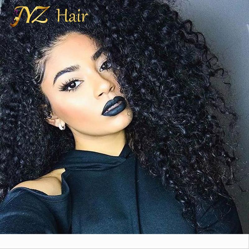 JYZ ricci capelli umani anteriore del merletto parrucche con i capelli del bambino glueless del merletto delle parrucche ricce crespe per le donne nere parrucca riccia vergine brasiliano