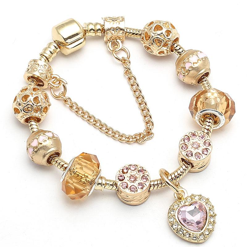 Luxurious Plated Gold Charms Bracelet For Crystal Fit Pandora ...