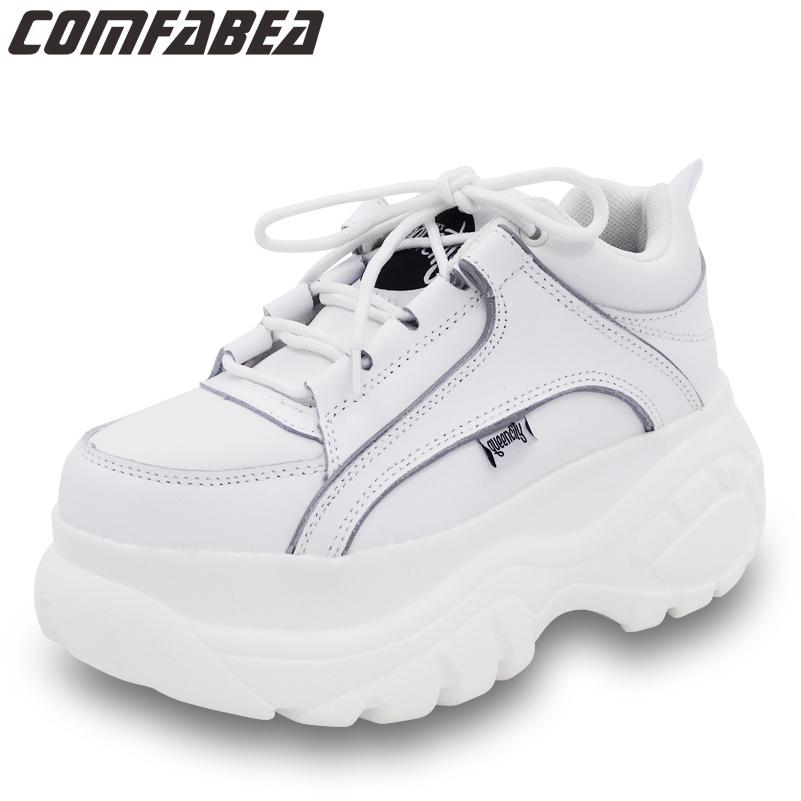 COMFABEA Damenschuhe 2020 beiläufige Frauen-Plattform-Schuh-Turnschuh-Frühlings-Schuh-Frauen starke alleinige Creepers Sport-Schuh S20326