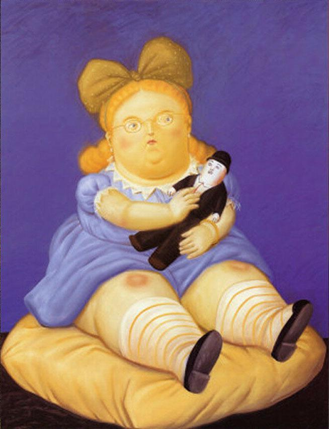 Fernando Botero fette Mädchen -4 Hauptdekor handgemaltes HD-Druck-Ölgemälde auf Leinwand-Wand-Kunst-Leinwandbildern 200206