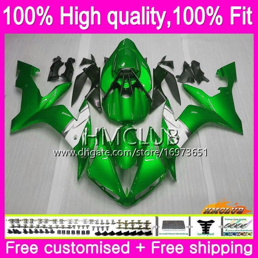 Injektion för Yamaha YZF R 1 YZF-1000 YZF 1000 YZF1000 04 06 85HM.0 YZF R1 YZF-R1 YZFR1 04 05 06 2004 2005 2006 OEM Fairings Green White Hot