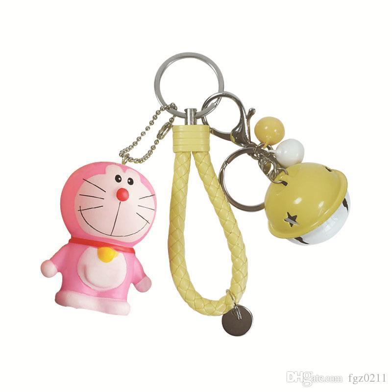 Sevimli Karikatür PVC Doraemon Anahtarlık Bileklik Kadınlar Için Çan Araba anahtarlık Çanta Charm Anahtarlık Takı çocuk oyuncakları Parti