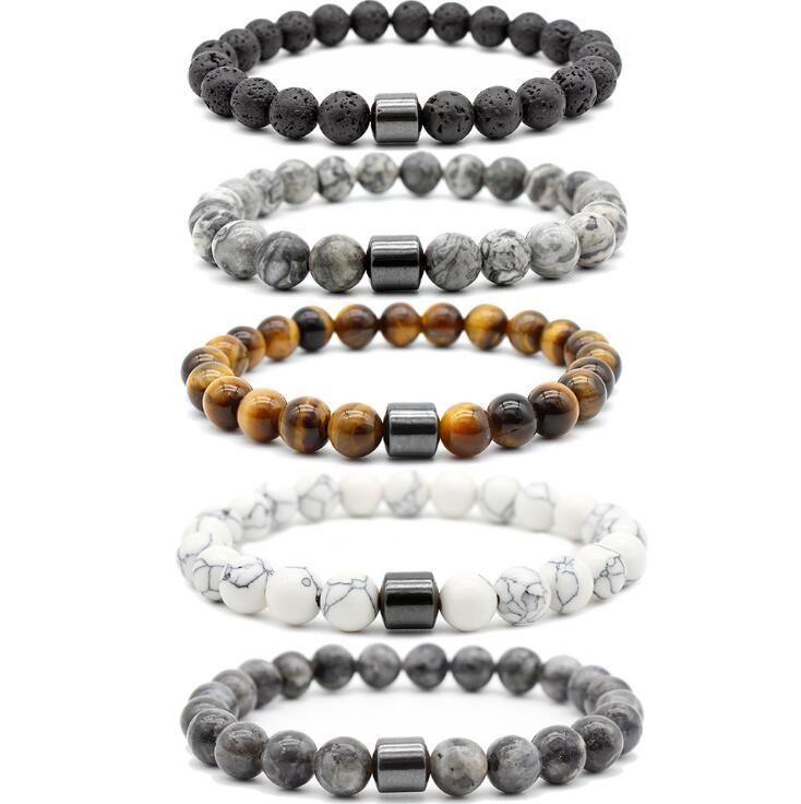 Naturstein-Armband-magnetische Therapie-Armband Lavastein Türkis Tigerauge Hämatit-Korn-Armband für Frauen-Mann-Armband