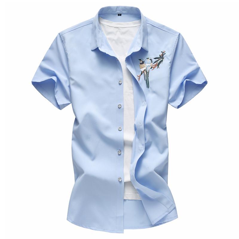 de manga corta de verano de estilo chino más el tamaño 58S11 camisa para hombre camisas de vestir de marca casual para hombres