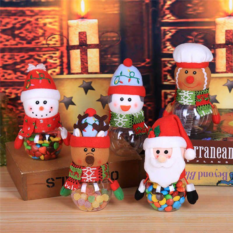 2018 حار لطيف الطفل عيد الميلاد للأطفال كاندي جرة التخزين زجاجة سانتا حقيبة حلوة عيد الميلاد صندوق المتحركة الشحن المجاني # 2N1