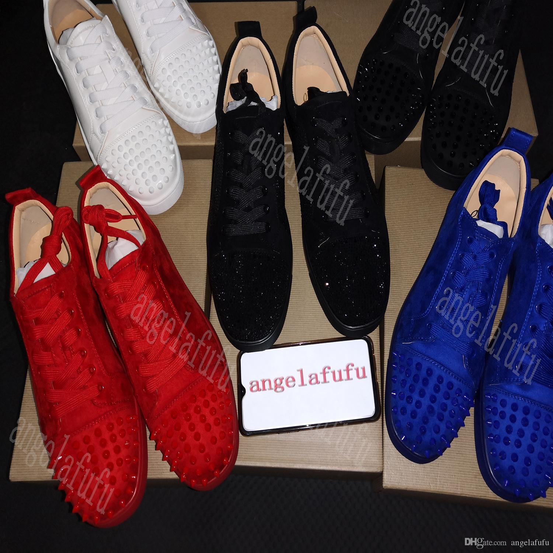 NEW2019 Sapatilhas Designer inferior é sapato vermelho Low Cut Camurça spike Sapatos Para Homens e Mulheres de Luxo Sapatos de Festa de Casamento de cristal Sapatilhas De Couro