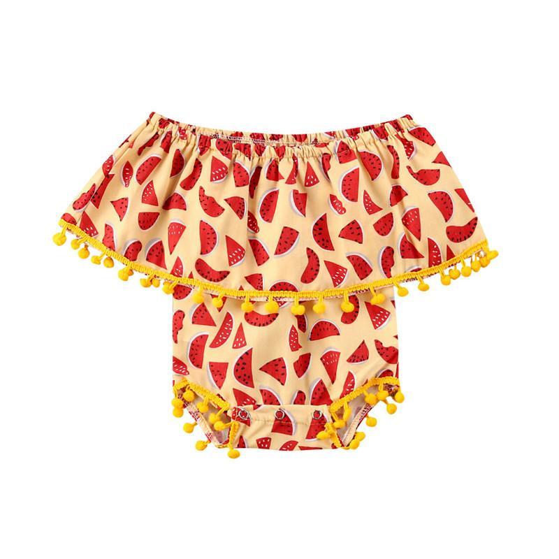 2020 Neonati ragazze pagliaccetto del bambino della tuta di colore giallo superiore della biforcazione del cotone Anguria Stampa nappe