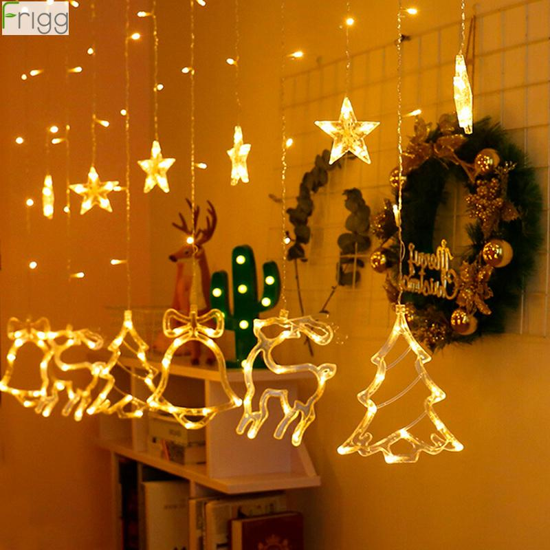 Elk Bell String Light LED Christmas Decor For Home Hanging Garland Christmas Tree Decor Ornament Navidad 2019 Xmas Gift New Year