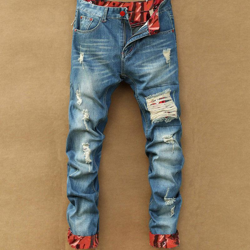 Spring Autumn Hip Hop Ripped Jean Solid Hole Straight Pants Casual Designer Retro Slim Fit Denim Trousers Jeans