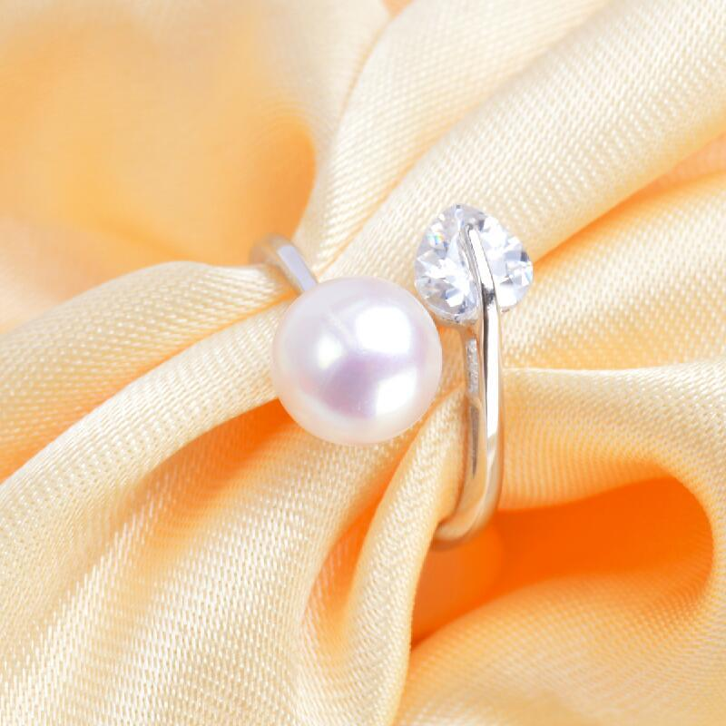 ASHIQI 925 Sterling Silver Ring Natural freshwater pearl Dazzling Heart Zircon Open Finger for Women Wedding Engagement jewelry