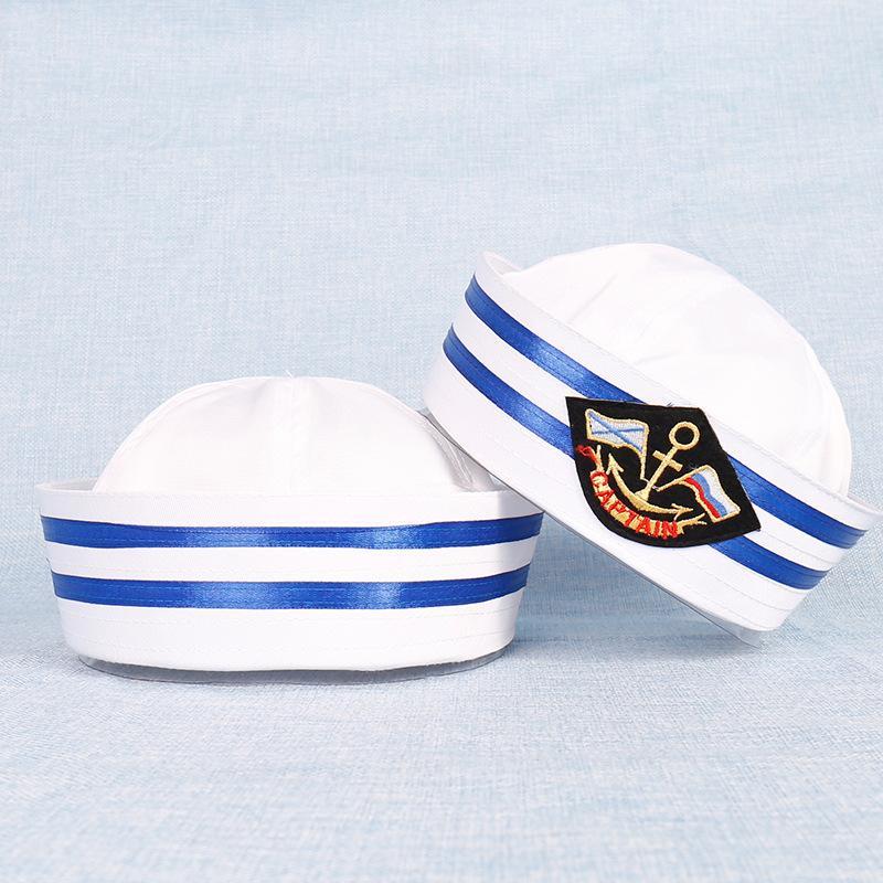 Mode Bleu Blanc militaire Chapeau Adulte Enfants Marine Marine Cap Anchor Sailor Capitaine de bateau Armée Casquettes Parti Cosplay Costume Outfit