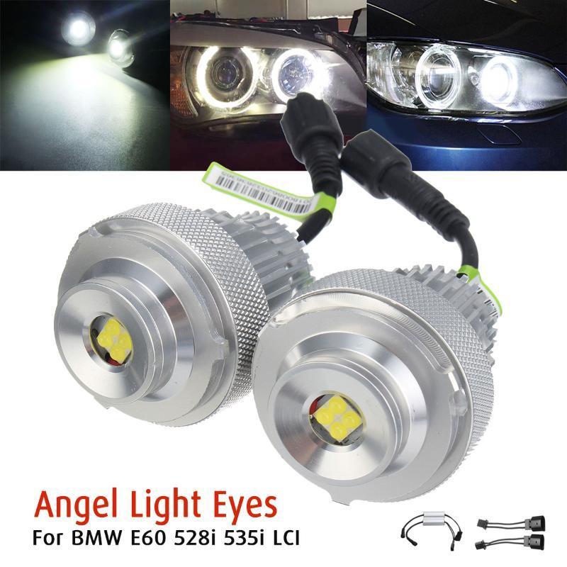 2pcs 20W LED blanco Mirada de ángel de Halo Bombillas por E60 528i 535i LCI brillo estupendo duradera de la vida