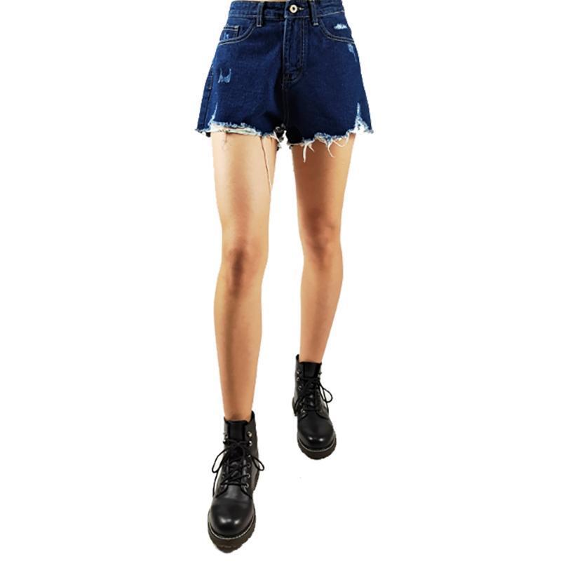 Sexy brevi jeans femminile Fashion Casual Donna Denim shorts a vita alta foderato di pelliccia Leg-aperture Jeans Summer Cool Plus Size Mid