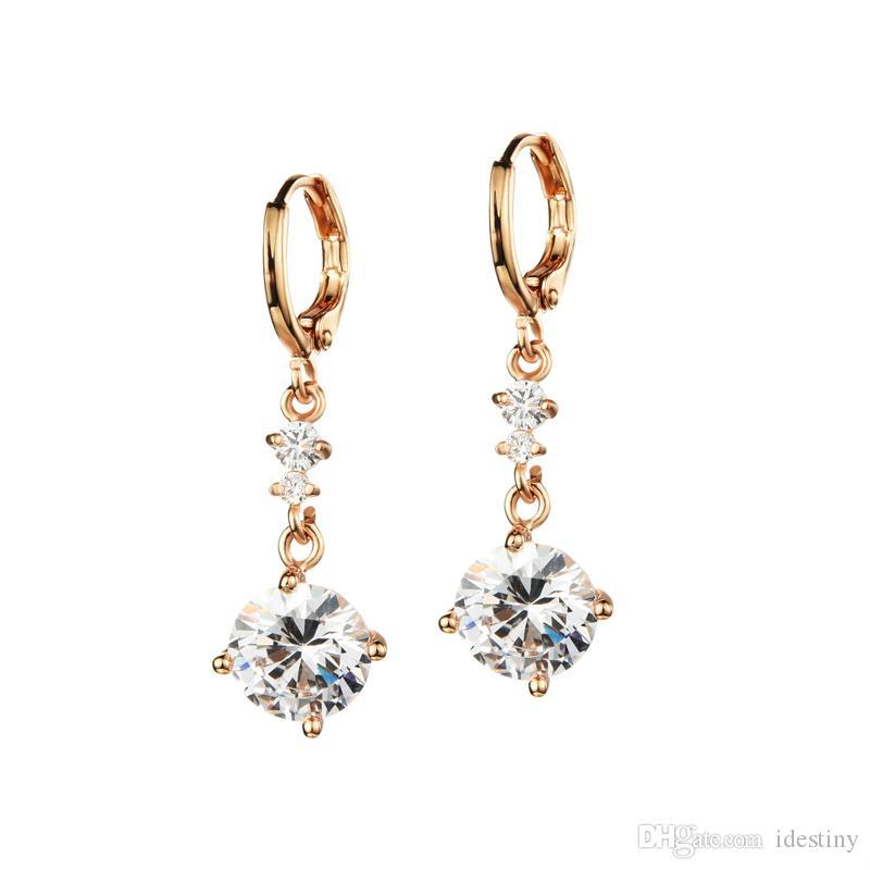 Novo estilo coreano cubic zirconia jóias banhado a ouro brincos de argola fina pequena com pingente para as mulheres da festa de casamento bijoux jóias presente
