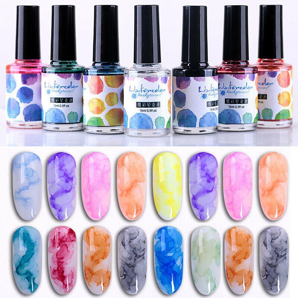 12 Colors Nail Polish Marble Pattern Pink Nail Smudge Liquid Gradient Long lasting Blooming Gel
