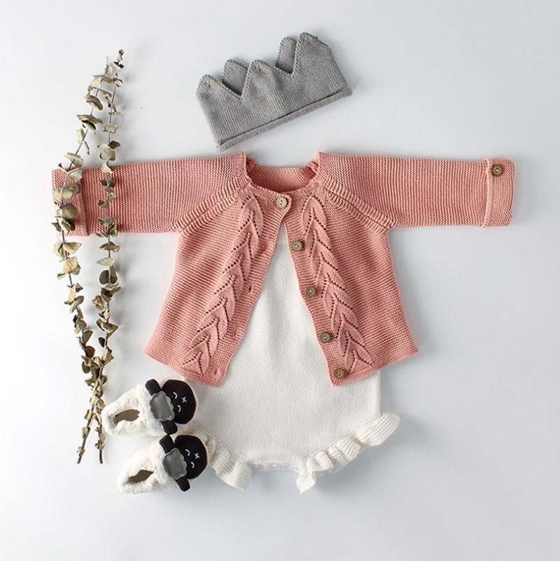 INS Baby Clothing Knitted Kids Romper Coat 2pcs Sets 100% Cotton Baby Girls Pullovers Princess Outfits Spring Kids Clothes 2 Colors YW2220