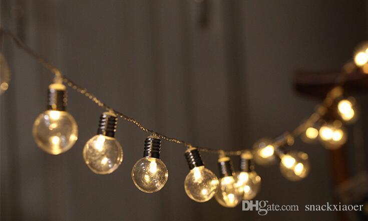 5m 40LED Globe Bulb String Lights Festone a batteria Festo festivo con luci natalizie