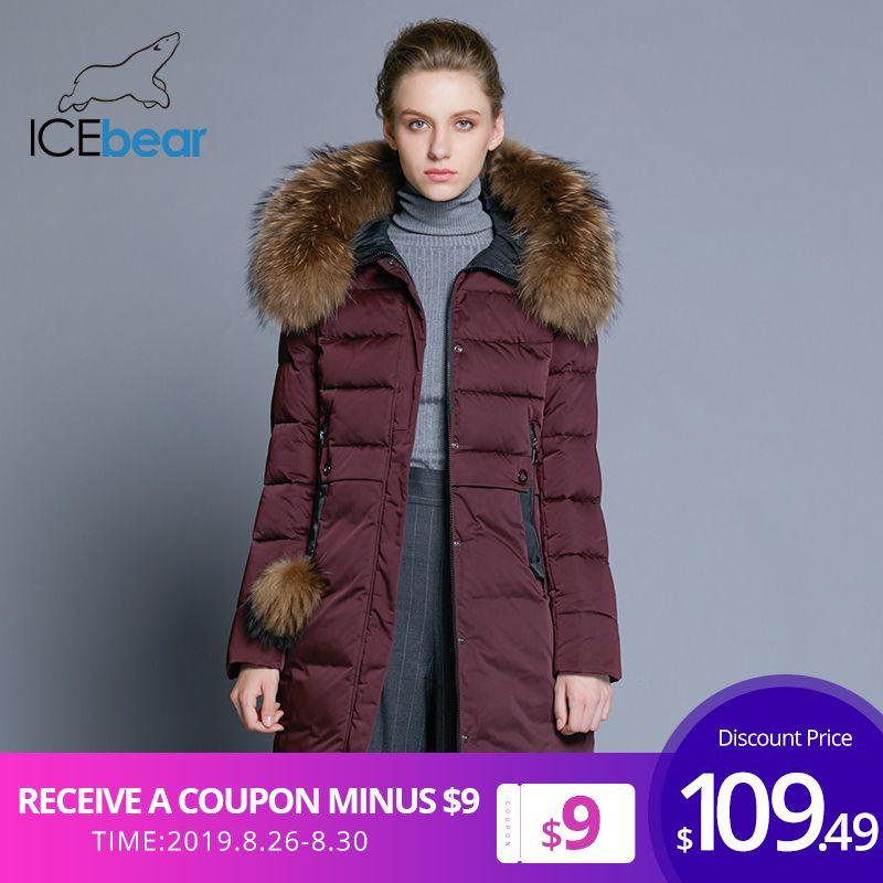 ICEbear 2019 mulheres casaco de inverno longo e magro feminino jaqueta gola de pele de animais roupas de marca grossa quente à prova de vento parka GWD18253 Y190828