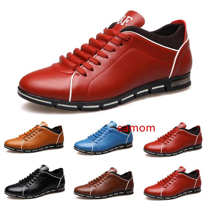 2020 free shipping men casual leather shoes black red chestnut light blue fashion mens sneakers flat shoe outdoor walking size 40-45