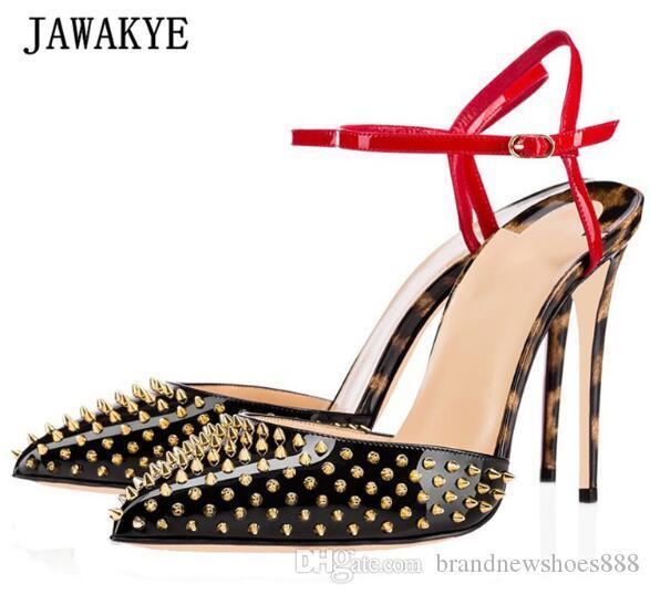 2019 Sexy Leopardenmuster Gladiator Sandalen Frau Spitz Knöchelriemen Gold Niet High Heel Schuhe Frau Mode Party Schuhe