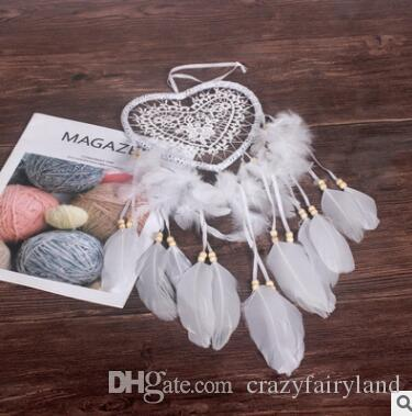 Dreamcatcher Wind Chimes Handmade Peach Heart Dream Catcher Net With Feathers 60 cm Wall Hanging Dreamcatcher Craft Gift Home Decoration