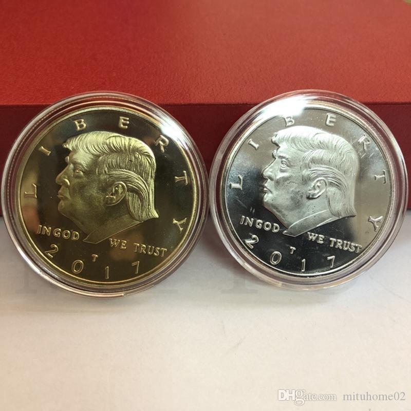 Donald Trump Moneta Commemorativa presidente americano Trump Avatar monete d'oro d'argento del distintivo in metallo 200pcs Craft Collection Aquila Coin