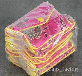 30pcs rosa vermelha floral Zipper Coin Purse Jóias Silk Purse Bolsa saco do presente, saco do presente da festa de aniversário do casamento Chrismas Páscoa Dia das Bruxas Ano Novo
