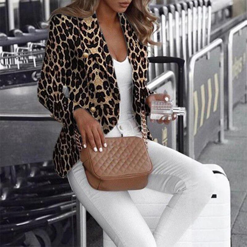 Leopar Baskılı Kadınlar Tasarımcı Blazer Yaka Boyun Hırka Bayan Ceket Palto İnce Baskılı Moda Kadın Apperrel