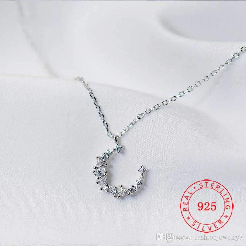 tiny moon charm chain necklace for girls delicate 925 sterling silver clavicle chain necklace jewelry wholesale