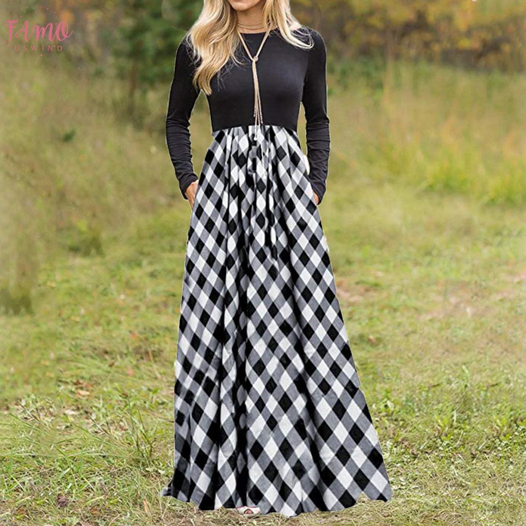 새로운 주머니 우연한 복장 Vestidos Verano 를 가진 여자의 격자 무늬 복장 숙녀 원인이 되는 긴 소매 제국 허리 전장 Maxi 복장