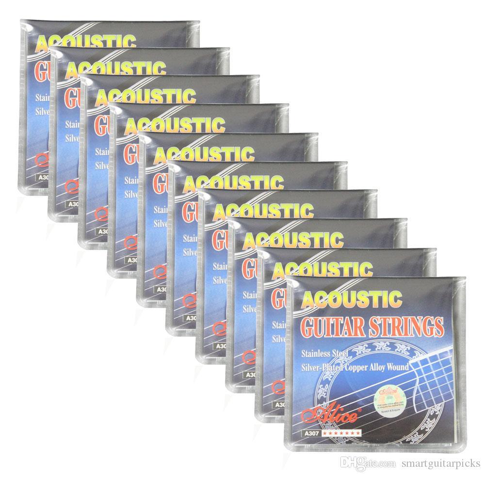 10 مجموعات أليس سلاسل الغيتار الصوتية الفضة مطلي سبائك النحاس الجرح A307-SL