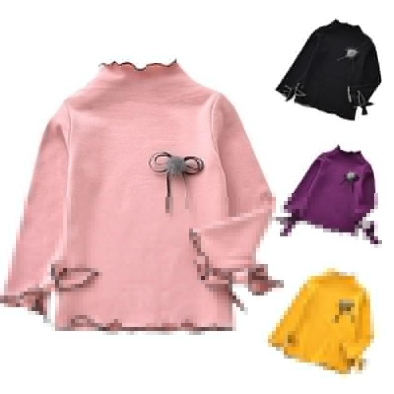 T-shirt maniche lunghe per bambina con maniche lunghe girocollo in cotone per bambini