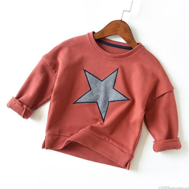 Baby Boys Sweatshirt Cotton T Shirt For Grils 3 Colors Autumn Terry Tops Kids Stars Patchwork Tees Shirt Children Outwear 3-7t J190611