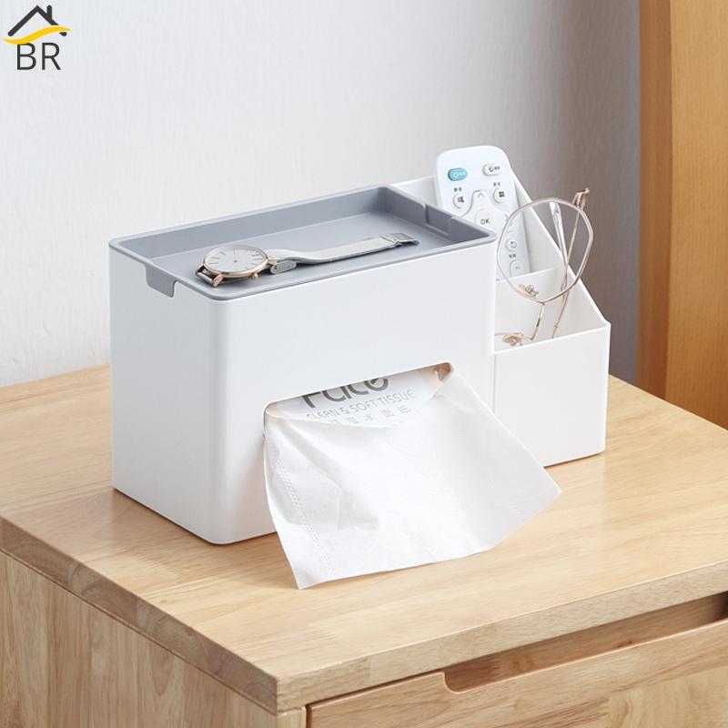 BR multifunzionale scatola del tessuto della cassa del supporto di plastica Sundries Storage Box tovagliolo telecomando Organizzatore ufficio Rack